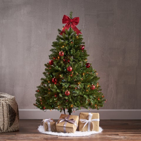 4.5-ft Dunhill Fir Pre-Lit or Unlit Hinged Artifical Christmas Tree by Christopher Knight Home