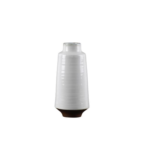 UTC59108: Ceramic Round Vase MD Shiny Finish White