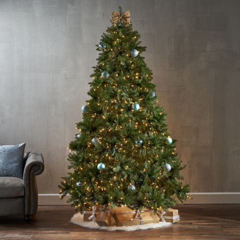 7.5-foot Fraser Fir Pre-Lit String Light or Unlit Hinged Artificial Christmas Tree by Christopher Knight Home