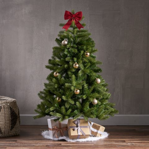 4.5-ft Mixed Spruce Pre-Lit or Unlit Artificial Christmas Tree by Christopher Knight