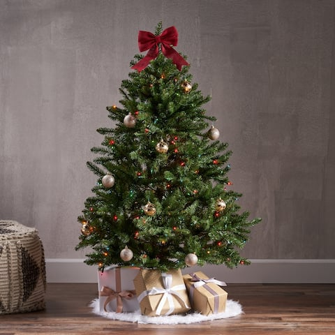4.5-ft Norway Spruce Pre-Lit or Unlit Hinged Artificial Christmas Tree by Christopher Knight Home