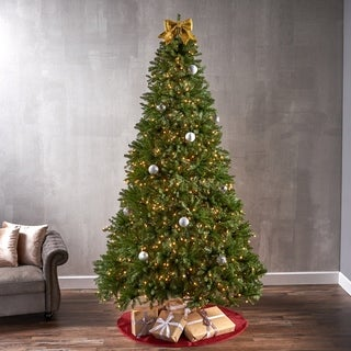 9-foot Fraser Fir Pre-Lit String Light or Unlit Hinged Artificial Christmas Tree by Christopher Knight Home