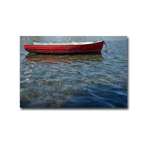 Red Boat by Lynda White Gallery Wrapped Canvas Giclee Art (24 in x 36 in, Ready to Hang)