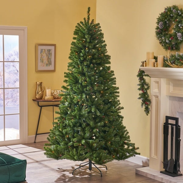 Pre Lit 9 Ft Christmas Tree: Shop 9-foot Noble Fir Pre-Lit Or Unlit Hinged Artificial