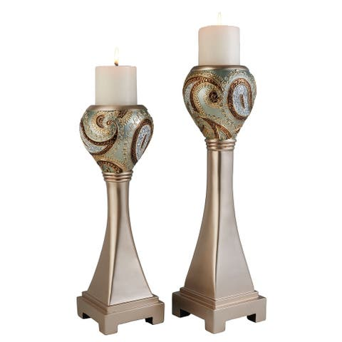 SINTECHNO SK-4277C Torch Inspired Mosaic Decorative Candle Holder Set