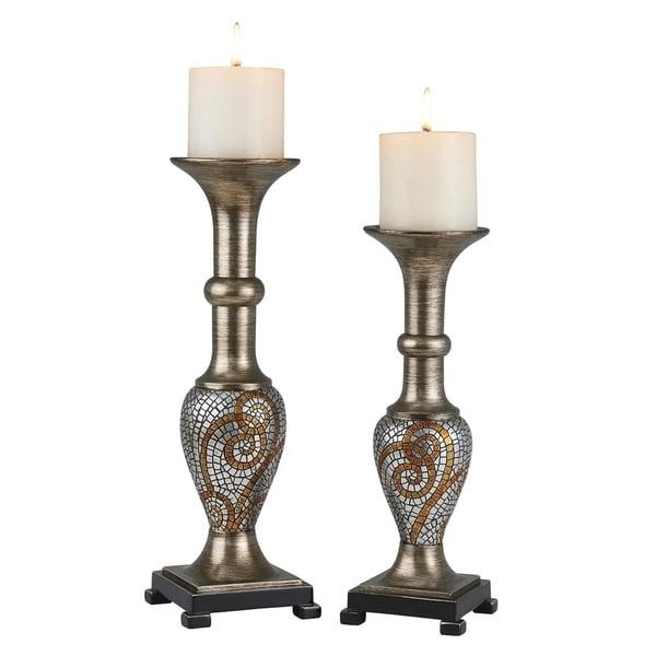 SINTECHNO SK-4286C Elegant Golden Mosaic Decorative Candle Holder Set