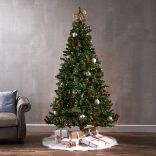 7-foot Noble Fir Pre-Lit or Unlit Hinged Artificial Christmas Tree by Christopher Knight Home