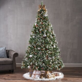 7.5-ft Spruce Pre-Lit or Unlit Artificial Christmas Tree with Snow Glitter Branches Frosted Pinecones by Christopher Knight Home
