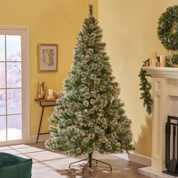 Shop 9-ft Spruce Pre-Lit or Unlit Artificial Christmas Tree with Snow Glitter Branches & Frosted ...