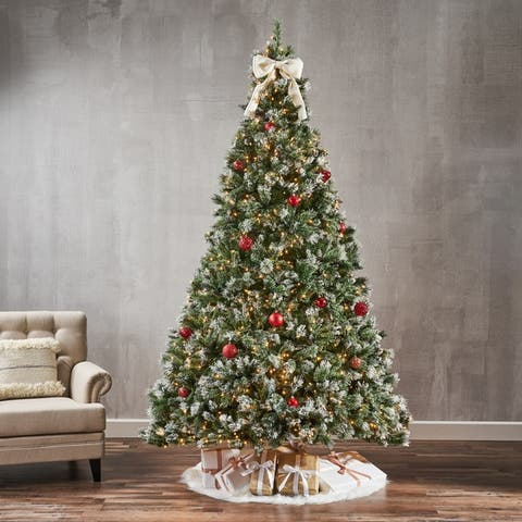 9-ft Spruce Pre-Lit or Unlit Artificial Christmas Tree with Snow Glitter Branches & Frosted Pinecones by Christopher Knight Home
