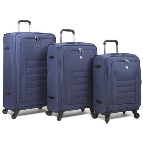 Dejuno Jacquard Lightweight 3-Piece Spinner Luggage Set w/15.6-inch Laptop Compartent