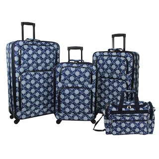 World Traveler Navy Vines Floral 4-piece Rolling Expandable Spinner Luggage Set