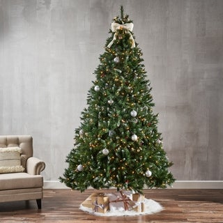 9-ft Spruce LED or Unlit Artificial Christmas Tree with Frosted Branches, Berries & Frosted Pinecones by Christopher Knight Home