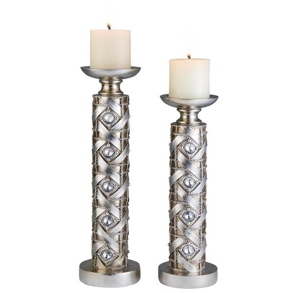 SINTECHNO SK-4259-C4 Rattan Crystal Inspired Candle Holder Set