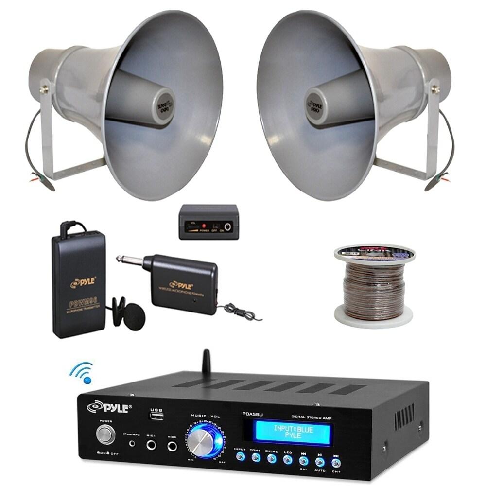 """Pyle PT110 PA Mono Amplifier PA 6/""""Horn Speakers Mic Set 100F Speaker Zip Wire"""