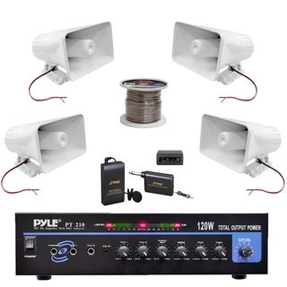 """Pyle PT210 Mono Mic Amplifier, 6"""" PA Horn Speakers, Wire, Lavalier Mic System"""