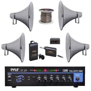 "Pyle PA Mono Amplifier, 16"" PA Horn Speakers, Speaker Wire, Lavalier Mic System - White/ Black"