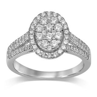 Unending Love 10K Gold 7/8 Cttw Diamond Oval Shape Halo Engagement Ring