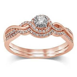 Unending Love 10K Two Tone Gold 1 4 Cttw Diamond Bridal Set Halo Engagement Ring