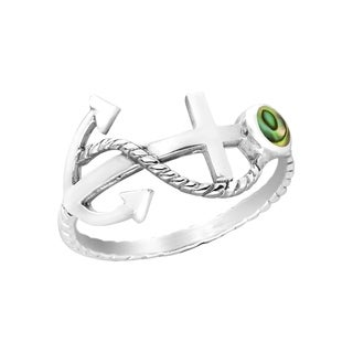 Handmade Sideways Nautical Rope Anchor Abalone Sterling Silver Ring (Thailand)