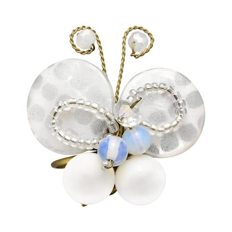 Handmade Stunning Nature White Ornate Butterfly Adjustable Ring (Thailand)