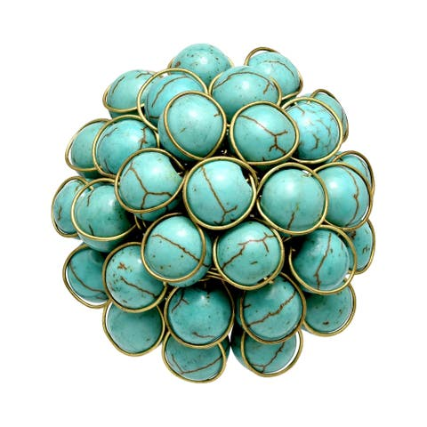 Handmade Beautiful Cluster of Turquoise & Brass Statement Ring (Thailand)