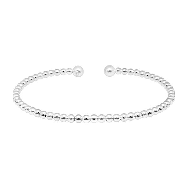 Handmade Simple Structured 3mm Beaded Row Sterling Silver Cuff Bracelet (Thailand). Opens flyout.