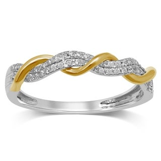 Unending Love 10K Two Tone Gold 1/10 Cttw Diamond Intertwined Wedding Band