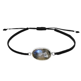 Handmade Layer Me Labradorite Stone Sterling Silver on Adjustable Bracelet (Thailand)