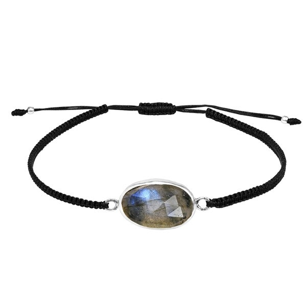 Handmade Layer Me Labradorite Stone Sterling Silver on Adjustable Bracelet (Thailand). Opens flyout.