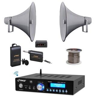 "Pyle 16"" 80W PA Horn Speakers, Mic Set, Bluetooth USB Mini Amp, Speaker Wire"