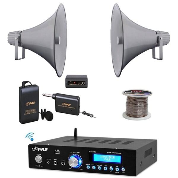shop pyle 16 80w pa horn speakers mic set bluetooth usb. Black Bedroom Furniture Sets. Home Design Ideas