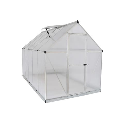 Palram Mythos 6' x 10' Greenhouse with Twin Wall Roof Panel and Aluminum Frame - Silver