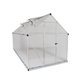 Palram Mythos 6' x 14' Greenhouse with Twin Wall Roof Panel and Aluminum Frame - Silver