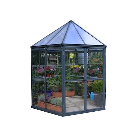 Palram Oasis Hex 7' x 8' Greenhouse with Twin Wall Roof Panel and Aluminum Frame - Gray