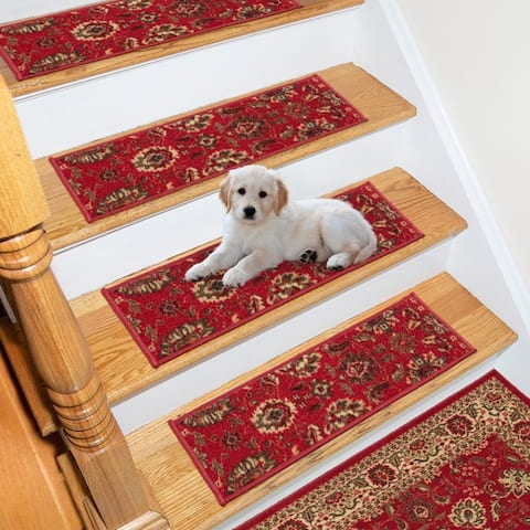 Ottomanson Patterned Non-slip Pet-friendly Stair Treads