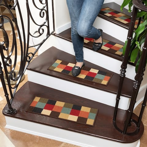 Ottomanson Ottohome Chekered Design Non-Slip Pet-Friendly Stair Treads