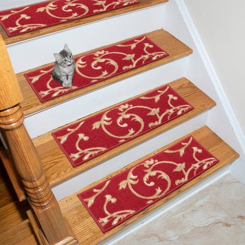 Ottohome Patterned Non-Slip Pet-Friendly Stair Treads (Set of 7)