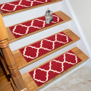 """Ottohome Patterned Non-Slip Pet-Friendly Stair Treads (Set of 7) - 8.5"""" x 26"""""""