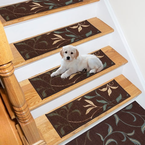 Ottomanson Ottohome Patterned Rubber Back Pet-Friendly Stair Treads