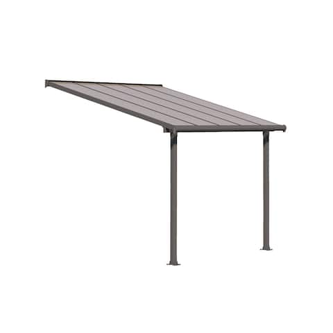 Palram Olympia 10' x 8' Patio Cover with Bronze Twin Wall Roof Panel and Gray Aluminum Frame
