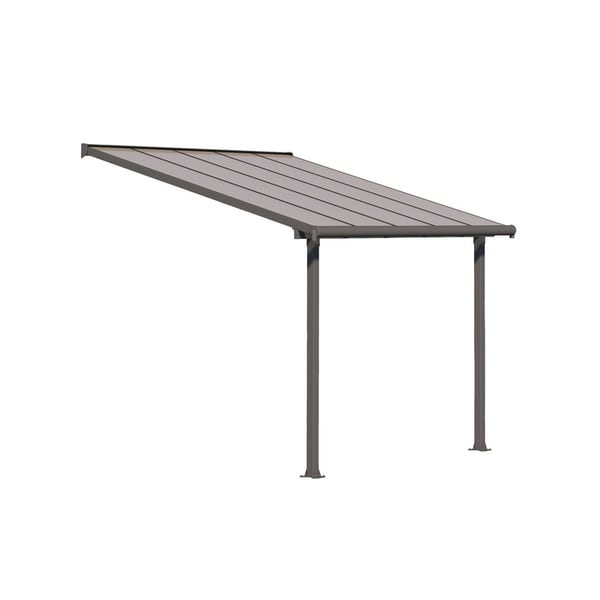 Shop Palram Olympia 10\' x 8\' Patio Cover with Bronze Twin Wall Roof ...