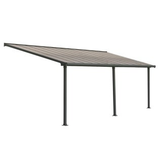Palram Olympia 10' x 24' Patio Cover with Bronze Twin Wall Roof Panel and Gray Aluminum Frame