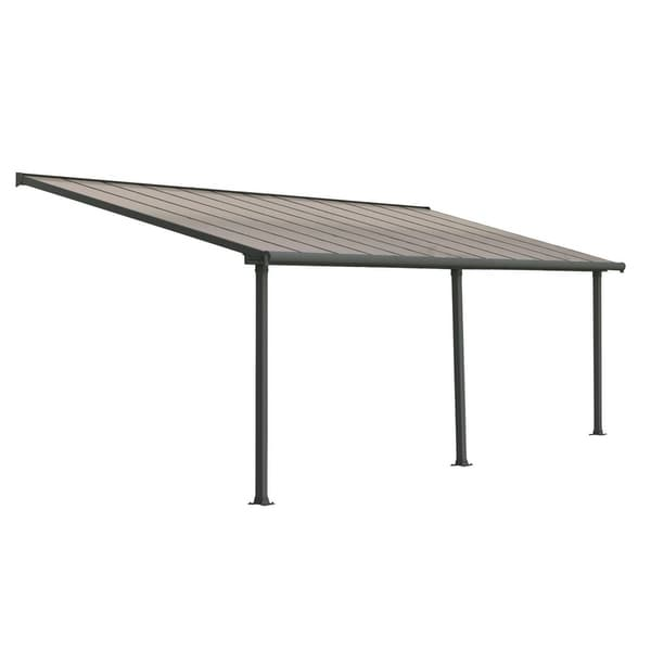 Shop Palram Olympia 10\' x 24\' Patio Cover with Bronze Twin Wall Roof ...