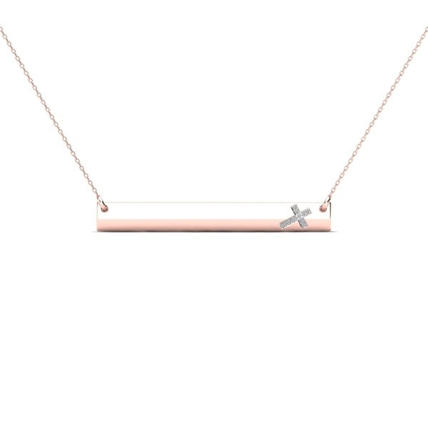 aaae637c96db88 AALILLY 10k Rose Gold Diamond Accent Sideways Cross Bar Necklace (H-I, I1-I2
