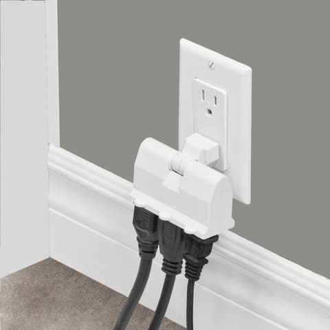 3-Outlet White Lateral Swivel Grounded Wall Adapter Tap