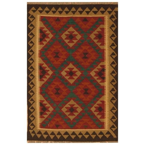 Handmade Mimana Wool Kilim (Afghanistan) - 3'2 x 5'