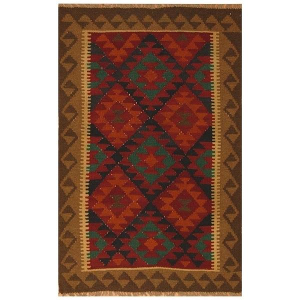 Handmade Mimana Wool Kilim (Afghanistan) - 3'2 x 4'11