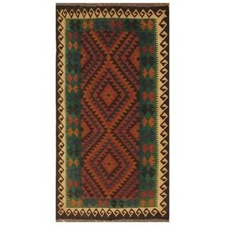 Handmade One-of-a-Kind Mimana Wool Kilim (Afghanistan) - 3'3 x 6'3