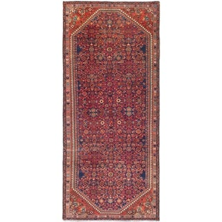 Hand Knotted Hossainabad Semi Antique Wool Runner Rug - 4' x 9' 4